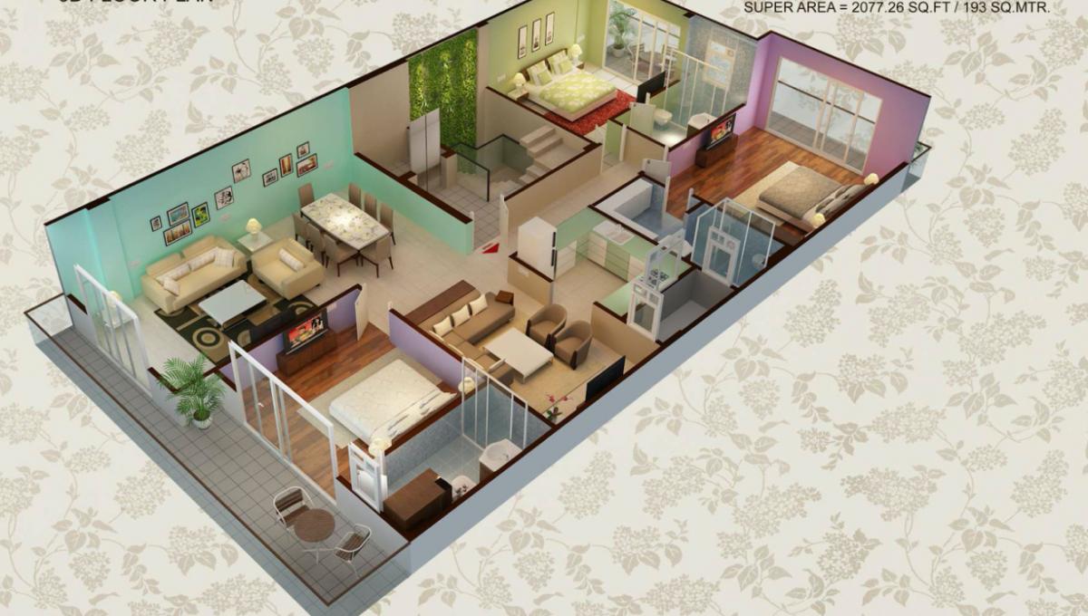 Builder Floor in Sector57 3D Floor Plan