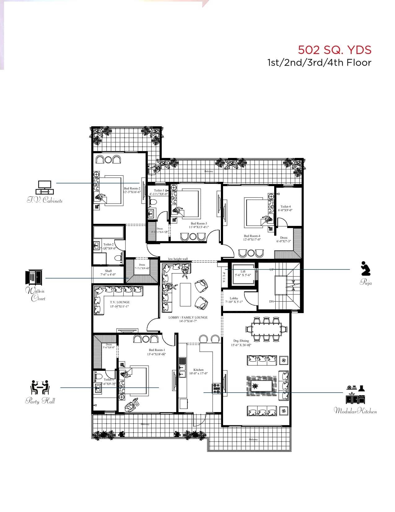 4 BHK Floor Plan + Servant Stilt