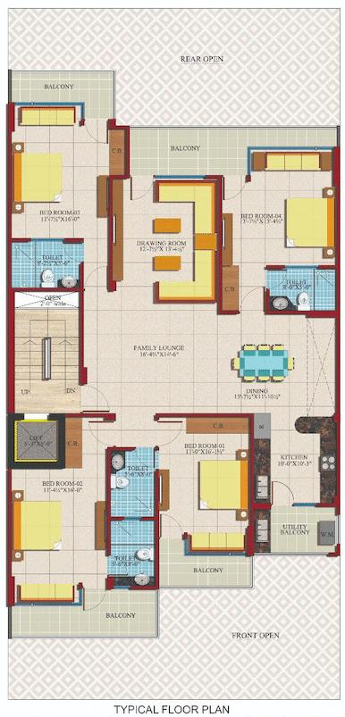 4 BHK Floor Plan + Servant in Stilt