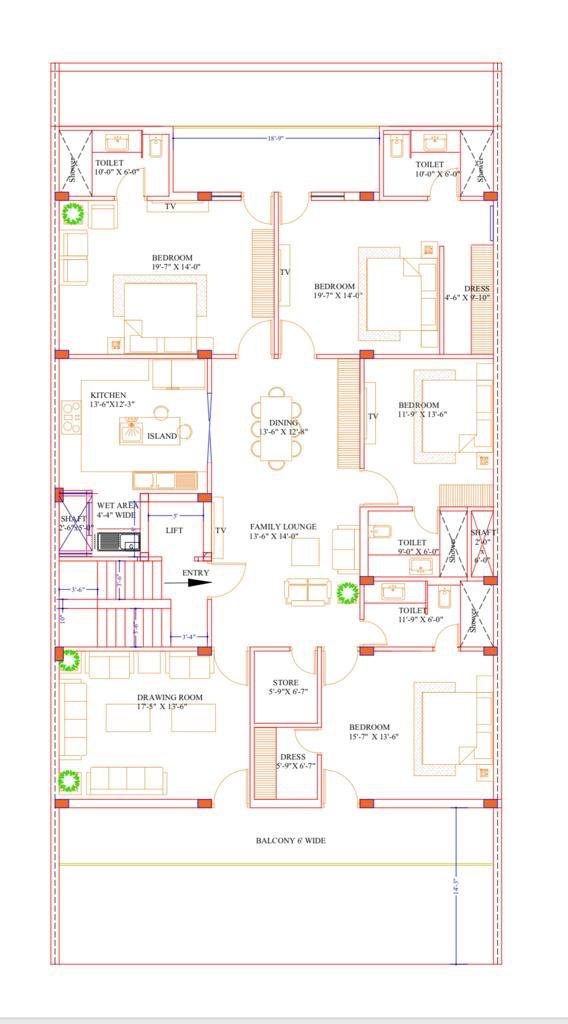 4 BHK Floor Plan + Servant in Stilt