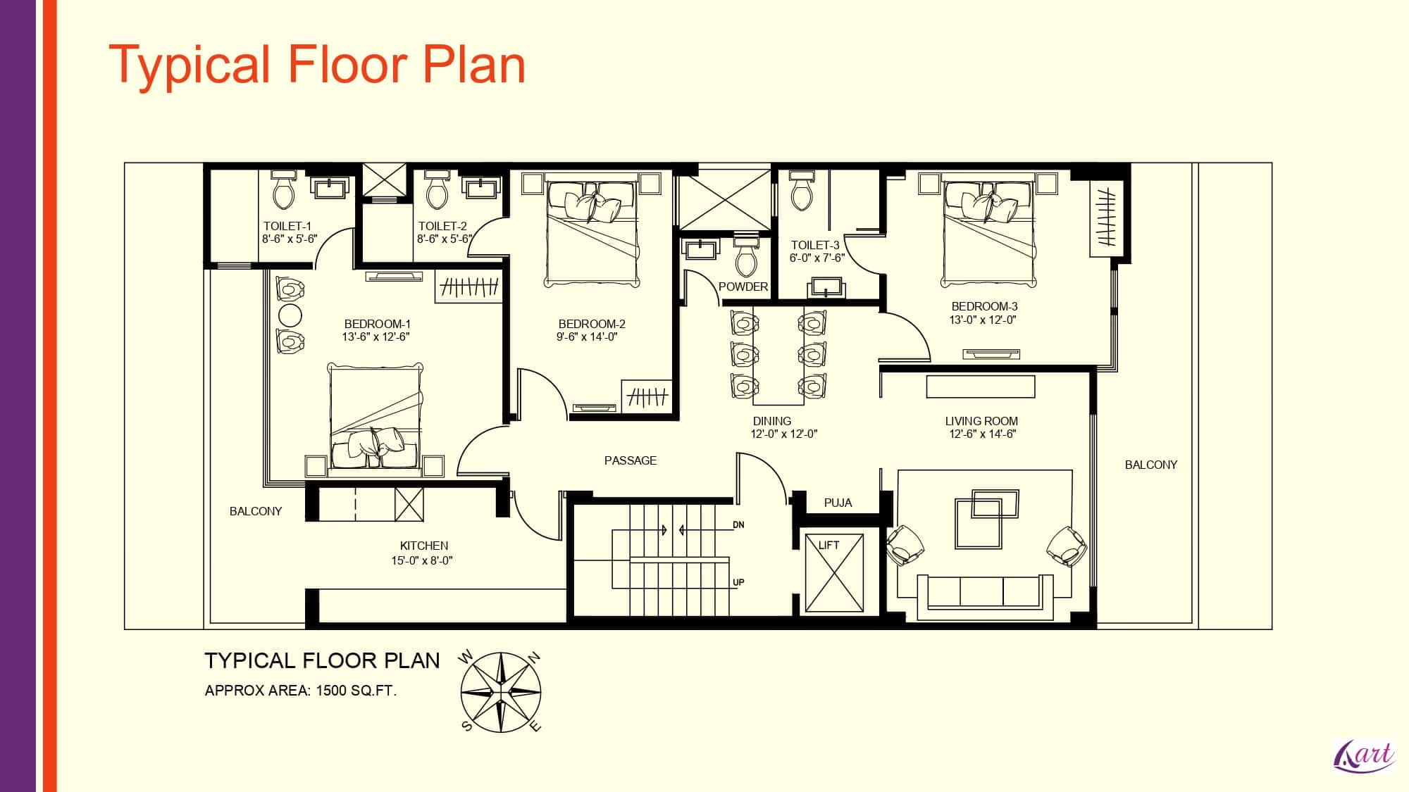 3BHK with Powder Room Floor Plan