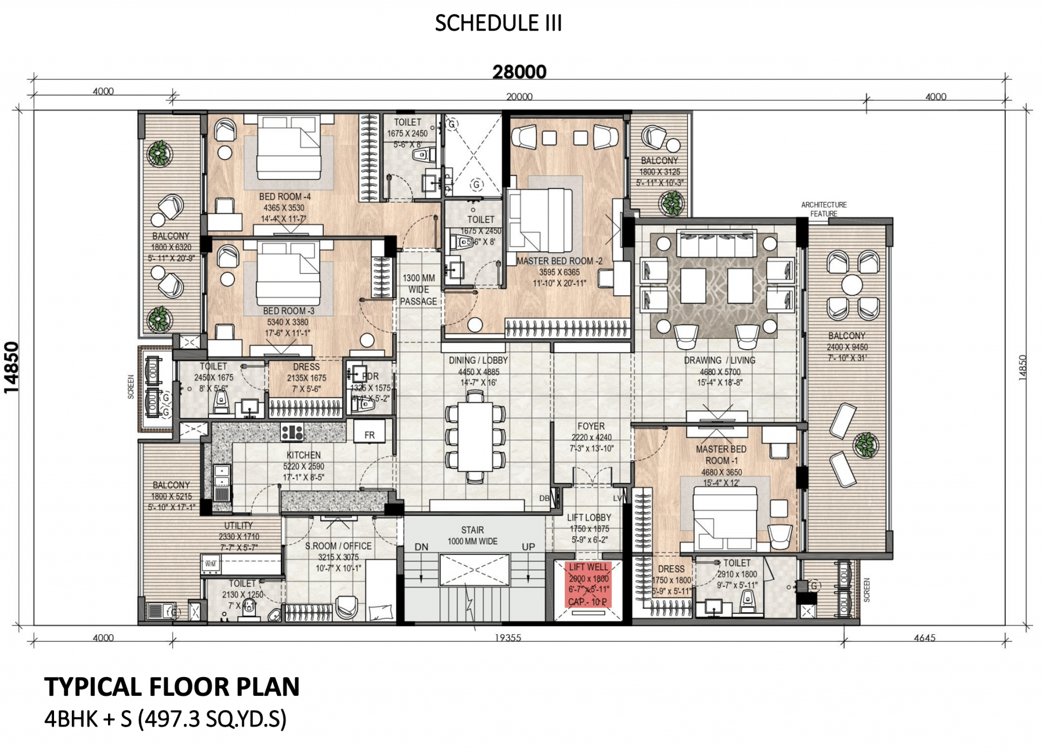DLF Phase 3, 4BHK + S (497.3 SQ.YD.S) Floor Plan