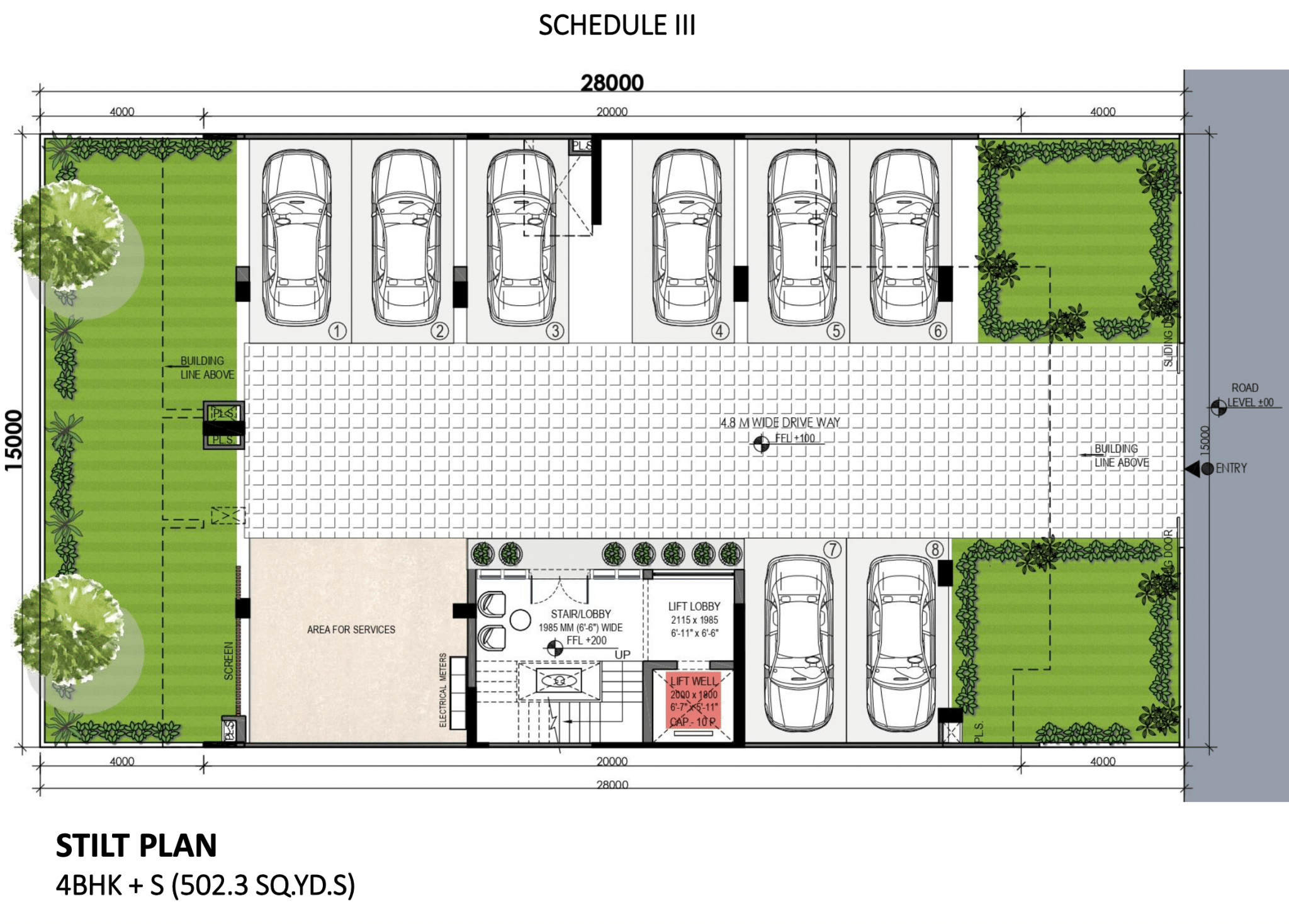 DLF Phase 3 Stilt Floor Plan 4BHK + S (502.3 SQ.YD.S) by DLF