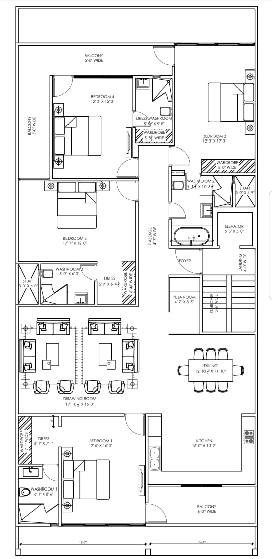 4 BHK Floor Plan