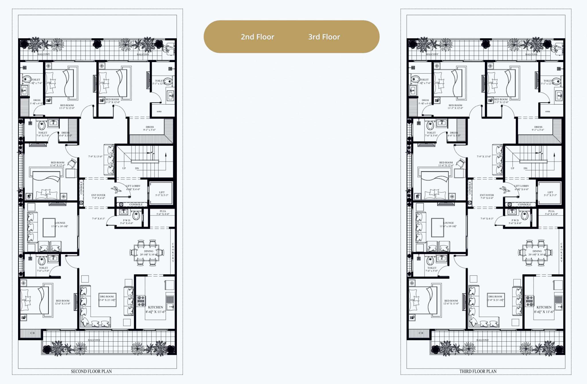 2nd and 3rd Floor Plan