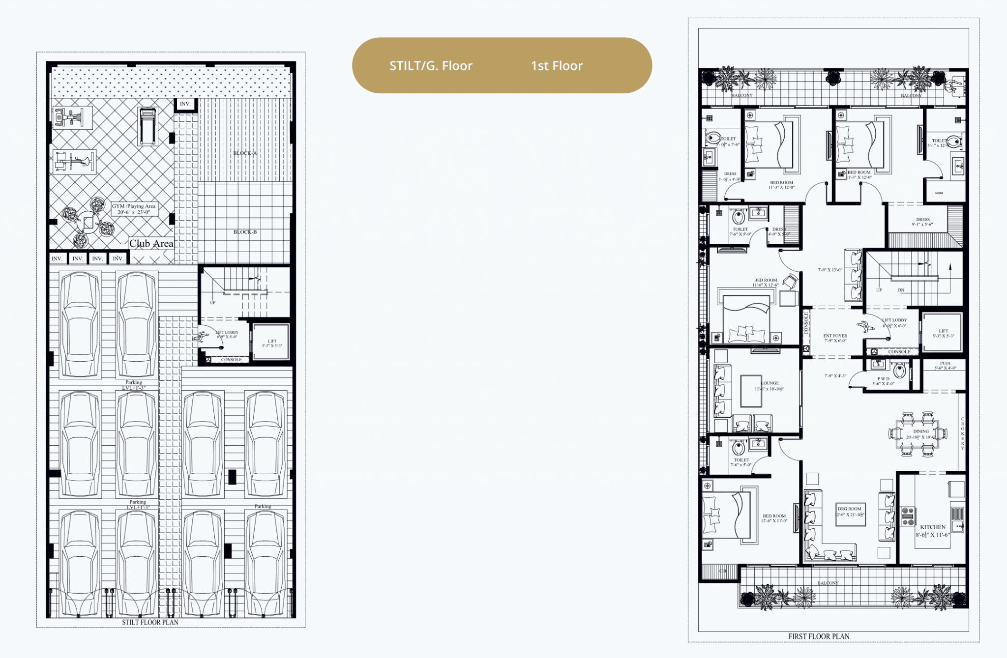 Stilt & 1st Floor Plan